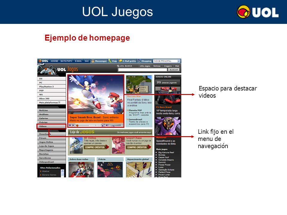 UOL Juegos Espacio para destacar videos Índice automático de más recientes videos sobre juegos Búsqueda de videos Ejemplo de subcanal de video Nube de tags de juegos