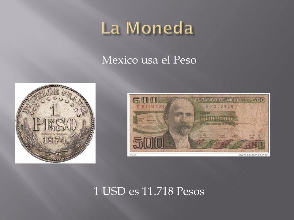 Mexico usa el Peso 1 USD es 11.718 Pesos