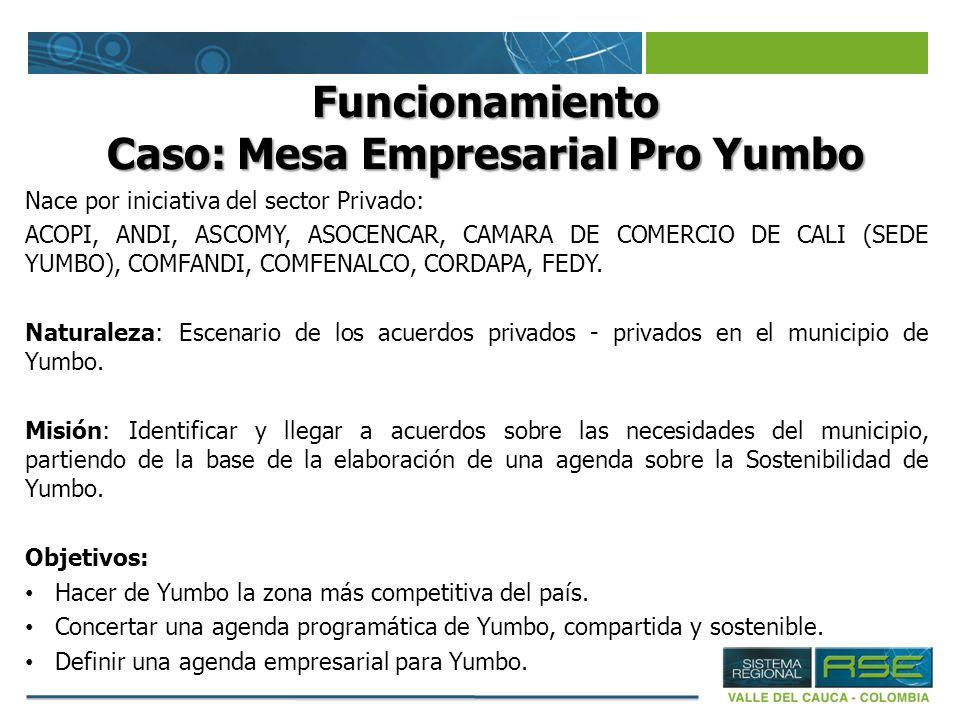 Funcionamiento Caso: Mesa Empresarial Pro Yumbo Nace por iniciativa del sector Privado: ACOPI, ANDI, ASCOMY, ASOCENCAR, CAMARA DE COMERCIO DE CALI (SE