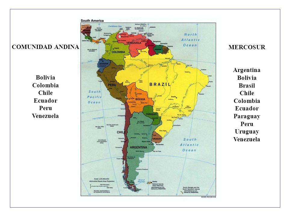 MERCOSUR Argentina Bolivia Brasil Chile Colombia Ecuador Paraguay Peru Uruguay Venezuela COMUNIDAD ANDINA Bolivia Colombia Chile Ecuador Peru Venezuela