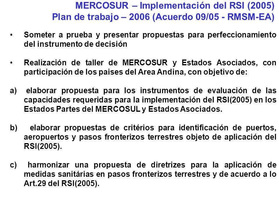 Someter a prueba y presentar propuestas para perfeccionamiento del instrumento de decisión Realización de taller de MERCOSUR y Estados Asociados, con participación de los paises del Area Andina, con objetivo de: a) elaborar propuesta para los instrumentos de evaluación de las capacidades requeridas para la implementación del RSI(2005) en los Estados Partes del MERCOSUL y Estados Asociados.