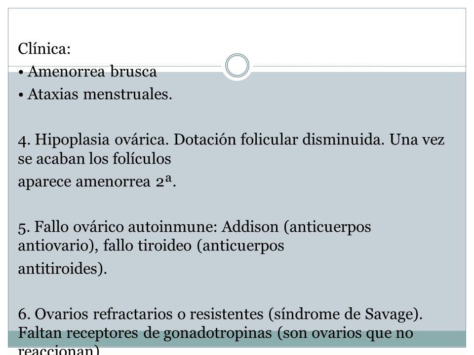 Clínica: Amenorrea brusca Ataxias menstruales. 4. Hipoplasia ovárica. Dotación folicular disminuida. Una vez se acaban los folículos aparece amenorrea