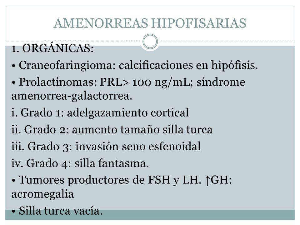 AMENORREAS HIPOFISARIAS 1. ORGÁNICAS: Craneofaringioma: calcificaciones en hipófisis. Prolactinomas: PRL> 100 ng/mL; síndrome amenorrea-galactorrea. i