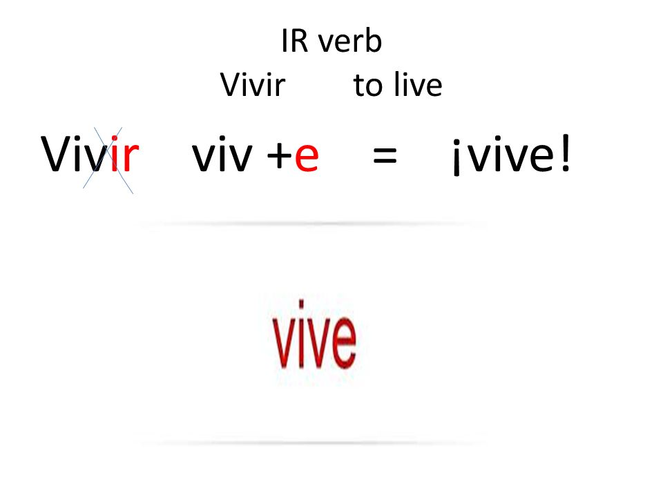 IR verb Vivir to live Vivir viv +e = ¡vive!