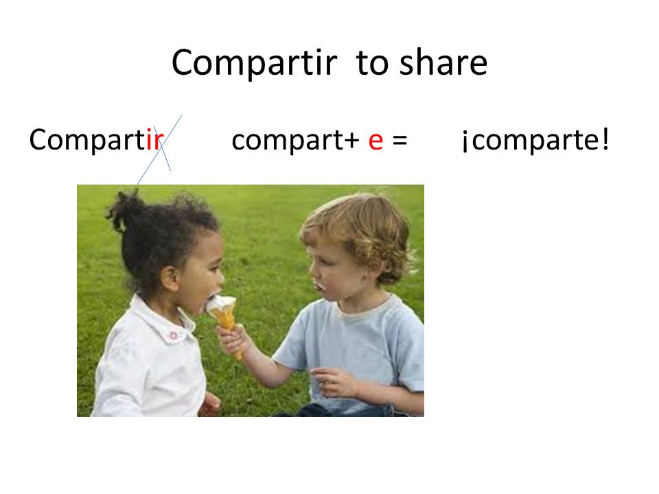 Compartir to share Compartir compart+ e = ¡comparte!