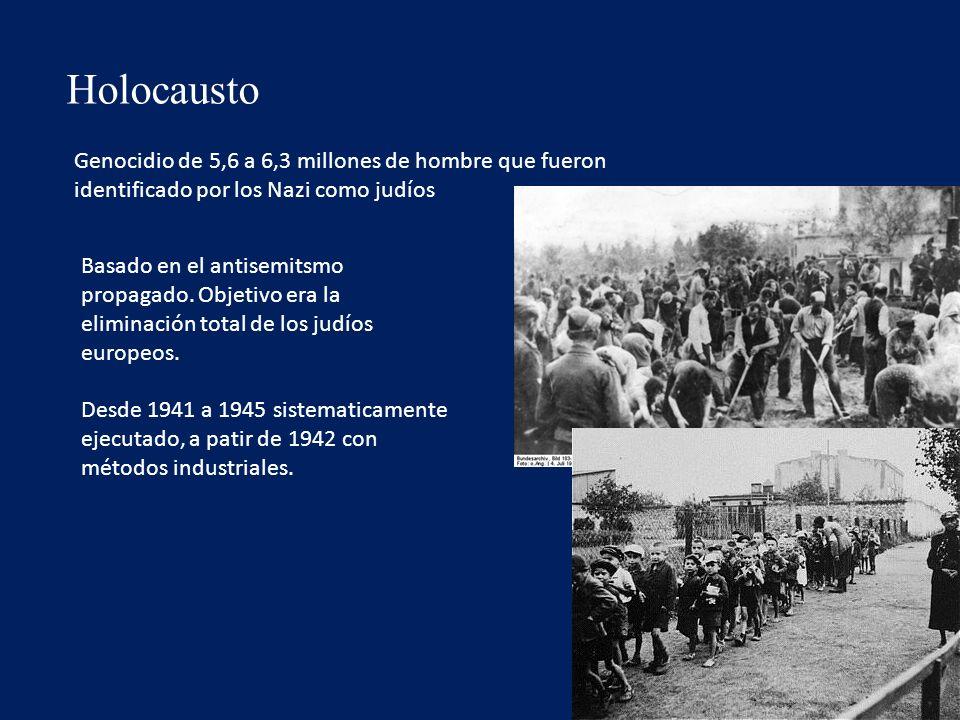 Holocausto Genocidio de 5,6 a 6,3 millones de hombre que fueron identificado por los Nazi como judíos Basado en el antisemitsmo propagado.