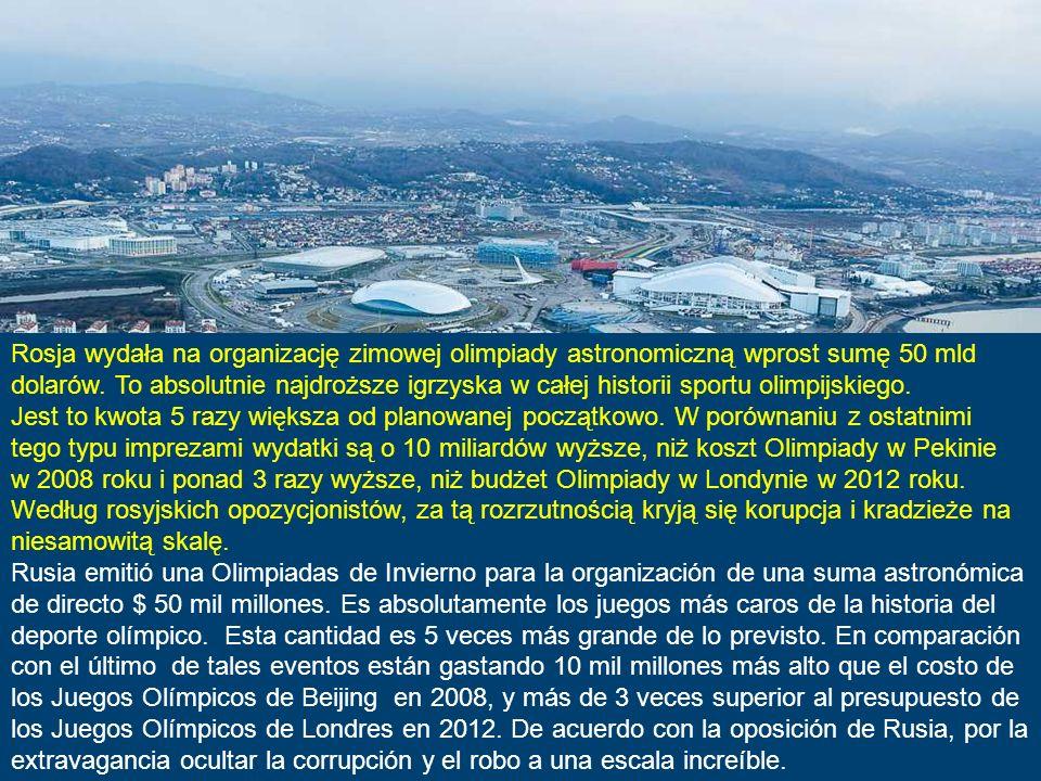 W rosyjskim kurorcie Soczi nad Morzem Czarnym dobiega końca budowa ogromnego kompleksu sportowego. To miasteczko, do niedawna będące skupiskiem sanato
