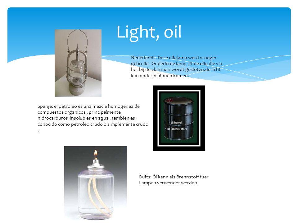 Light, oil Nederlands: Deze olielamp werd vroeger gebruikt.