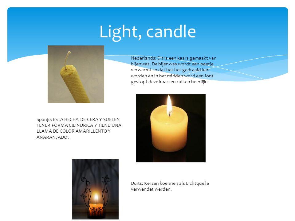 Light, candle Polen: Świeca - przed wprowadzeniem elektryczności świece były powszechnym źródłem światła; szczególnie w północnej Europie aż do XIX wieku były częściej używane niż lampki oliwne.