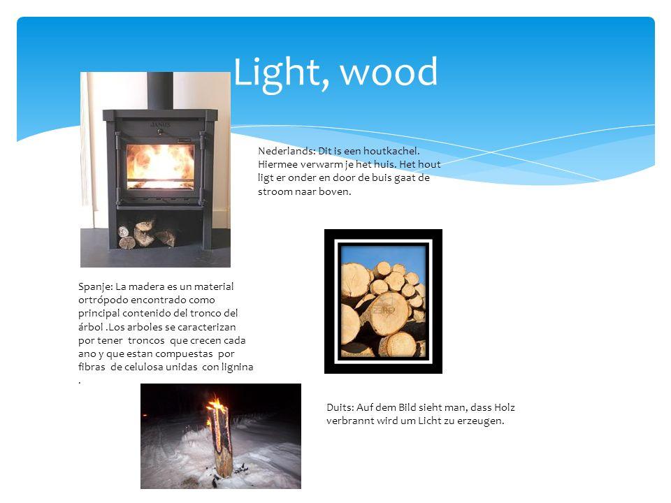 Light, wood Nederlands: Dit is een houtkachel. Hiermee verwarm je het huis.