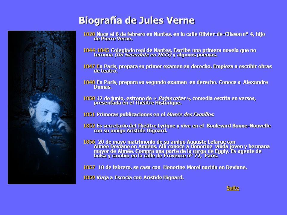Biografía de Jules Verne 1828 Nace el 8 de febrero en Nantes, en la calle Olivier-de-Clisson nº 4, hijo de Pierre Verne. 1844-1845 Colegiado real de N