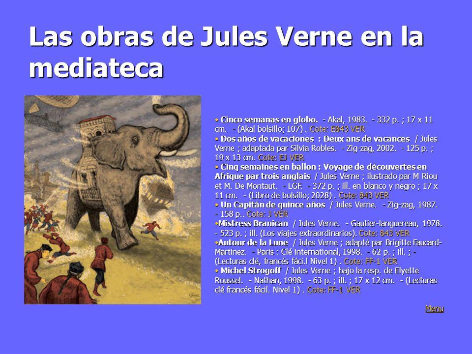 Señales: Jules sobre tela Centro internacionall Jules Verne: Centro internacionall Jules Verne: http://www.jules-verne.net/ http://www.jules-verne.net/http://www.jules-verne.net/ Sitio oficial de la conmémoración de Jules verne en Amiens: Sitio oficial de la conmémoración de Jules verne en Amiens: http://www.julesverne.fr/ Un viaje en 80 palabras sobre la obra del autor de la Vuelta: http://verne.jules.free.fr/ Un viaje en 80 palabras sobre la obra del autor de la Vuelta: http://verne.jules.free.fr/ Retranscripción del análisis literário: http://perso.wanadoo.fr/jules-verne/CIEH.htm Retranscripción del análisis literário: http://perso.wanadoo.fr/jules-verne/CIEH.htm http://perso.wanadoo.fr/jules-verne/CIEH.htm Viaje sobre la huella de Jules Verne: http://80j.free.fr/Paccueil.htm Viaje sobre la huella de Jules Verne: http://80j.free.fr/Paccueil.htm http://80j.free.fr/Paccueil.htm Textos integrales en ligne: Textos integrales en ligne: http://abu.cnam.fr/BIB/auteurs/vernej.html Foro de discusión: Foro de discusión:http://www.fredericviron.com/verne/modules/news/