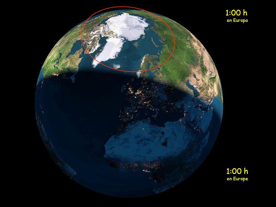 Medianoche en Europa El sol de medianoche está ahora sobre la parte norte de la Escandinavía.