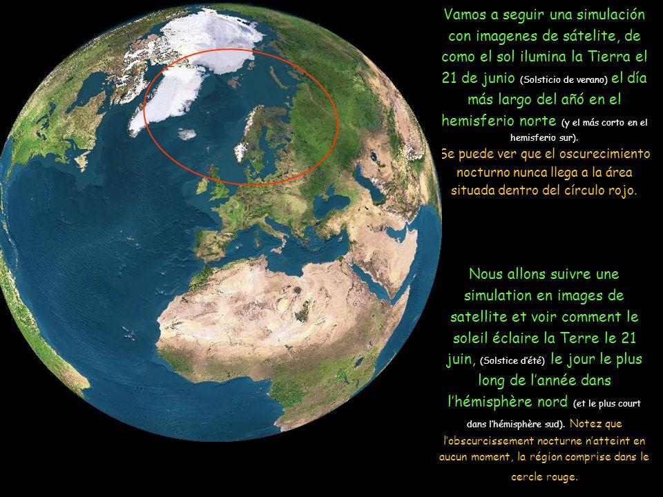 Debido a la inclinación del eje de la Tierra, la área alrededor del Polo Norte queda expuesta al Sol 24 h/día en verano En raison de linclinaison de laxe de la Terre, la région autour du Pôle Nord reste exposée au Soleil 24 h.