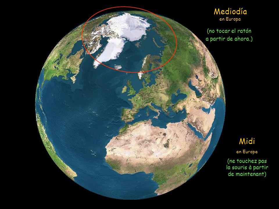 Vamos a seguir una simulación con imagenes de sátelite, de como el sol ilumina la Tierra el 21 de junio (Solsticio de verano) el día más largo del añó en el hemisferio norte (y el más corto en el hemisferio sur).