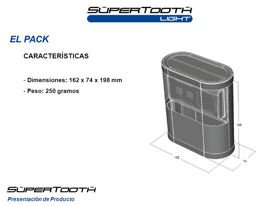 EL PACK Presentación de Producto CARACTERÍSTICAS - Dimensiones: 162 x 74 x 198 mm - Peso: 250 gramos