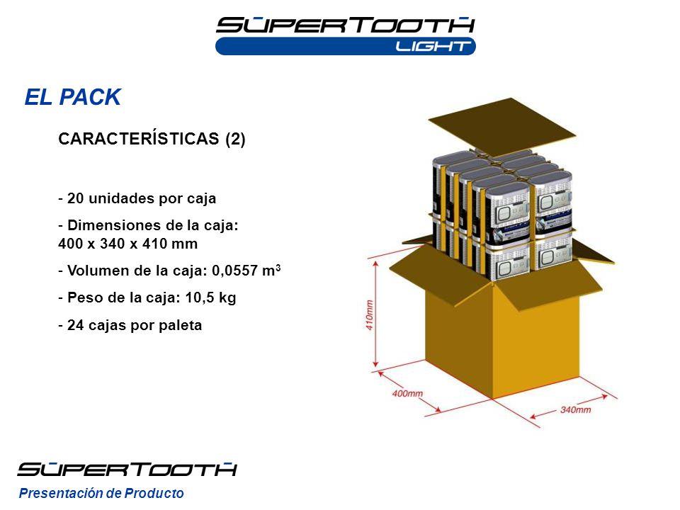 EL PACK Presentación de Producto CARACTERÍSTICAS (2) - 20 unidades por caja - Dimensiones de la caja: 400 x 340 x 410 mm - Volumen de la caja: 0,0557
