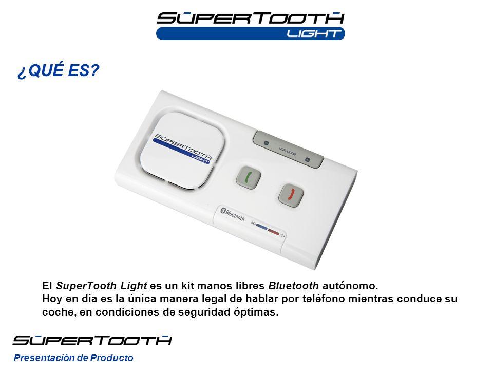 El SuperTooth Light es un kit manos libres Bluetooth autónomo. Hoy en día es la única manera legal de hablar por teléfono mientras conduce su coche, e