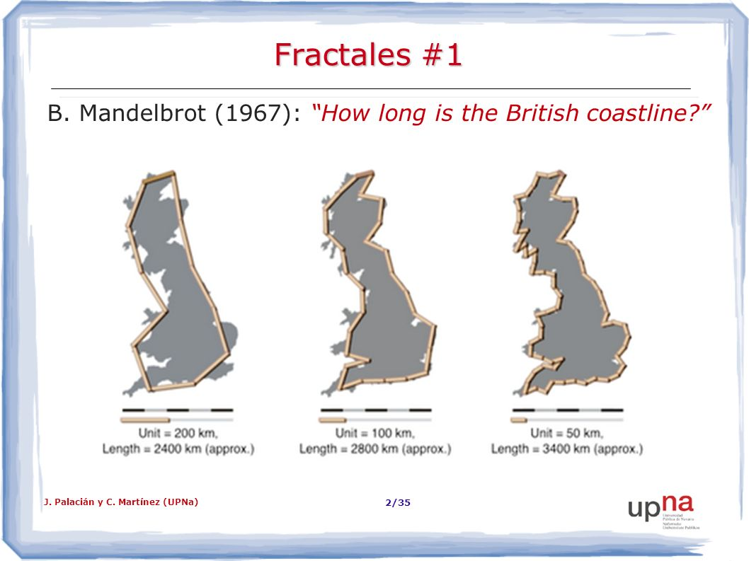 J. Palacián y C. Martínez (UPNa) 2/35 Fractales #1 B. Mandelbrot (1967): How long is the British coastline?