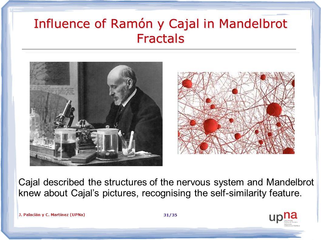 J. Palacián y C. Martínez (UPNa) 31/35 Influence of Ramón y Cajal in Mandelbrot Fractals Cajal described the structures of the nervous system and Mand