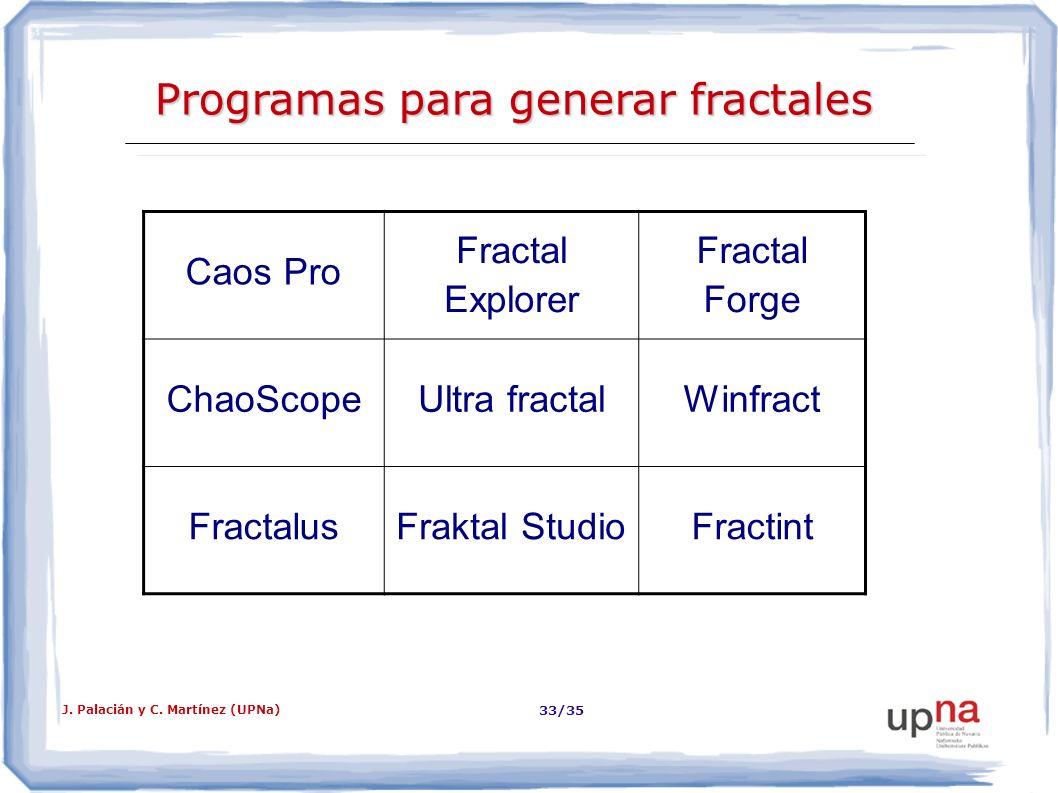 J. Palacián y C. Martínez (UPNa) 33/35 Programas para generar fractales Caos Pro Fractal Explorer Fractal Forge ChaoScopeUltra fractalWinfract Fractal