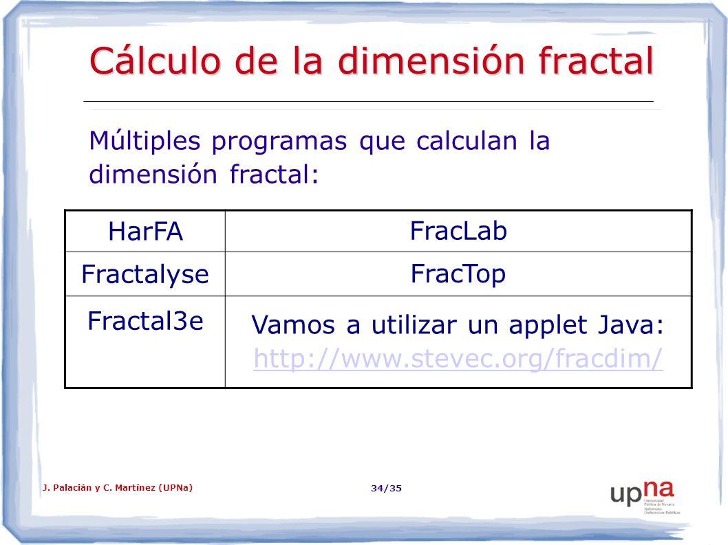J. Palacián y C. Martínez (UPNa) 34/35 Cálculo de la dimensión fractal Múltiples programas que calculan la dimensión fractal: HarFA FracLab Fractalyse