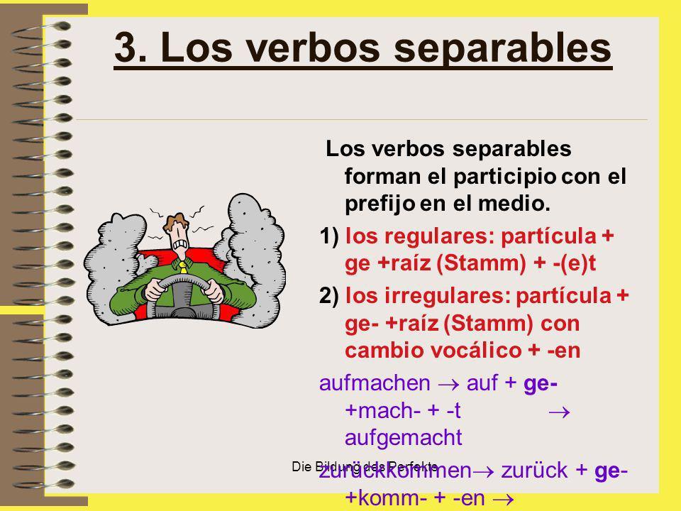 Die Bildung des Perfekts 3. Los verbos separables Los verbos separables forman el participio con el prefijo en el medio. 1) los regulares: partícula +