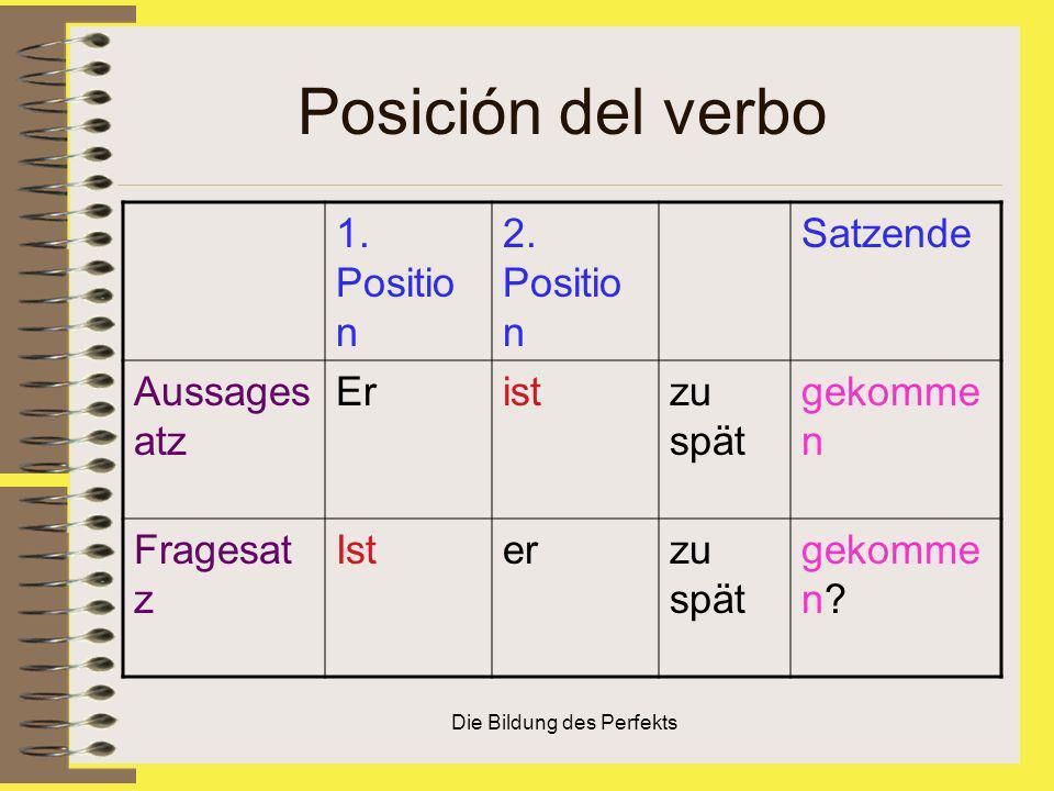 Die Bildung des Perfekts Posición del verbo 1. Positio n 2. Positio n Satzende Aussages atz Eristzu spät gekomme n Fragesat z Isterzu spät gekomme n?