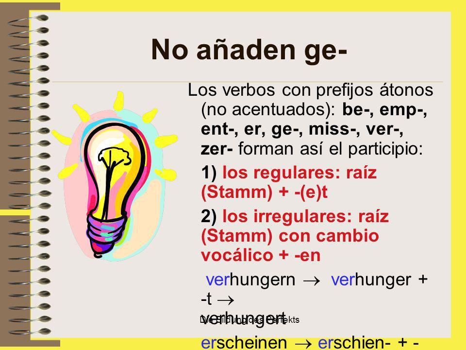 Die Bildung des Perfekts No añaden ge- Los verbos con prefijos átonos (no acentuados): be-, emp-, ent-, er, ge-, miss-, ver-, zer- forman así el parti