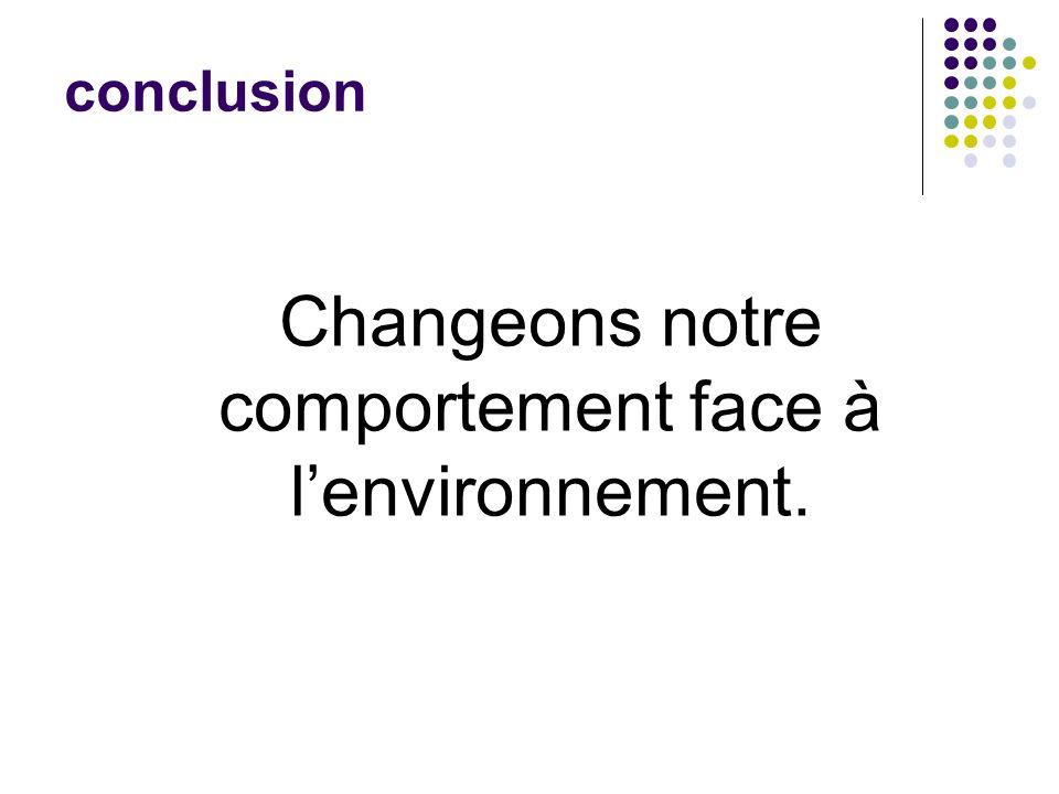 conclusion Changeons notre comportement face à lenvironnement.