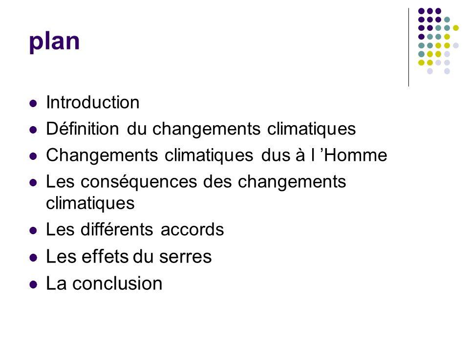 plan Introduction Définition du changements climatiques Changements climatiques dus à l Homme Les conséquences des changements climatiques Les différents accords Les effets du serres La conclusion