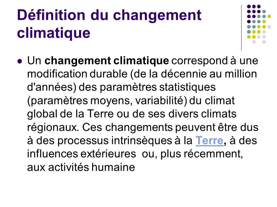 Définition du changement climatique Un changement climatique correspond à une modification durable (de la décennie au million d années) des paramètres statistiques (paramètres moyens, variabilité) du climat global de la Terre ou de ses divers climats régionaux.