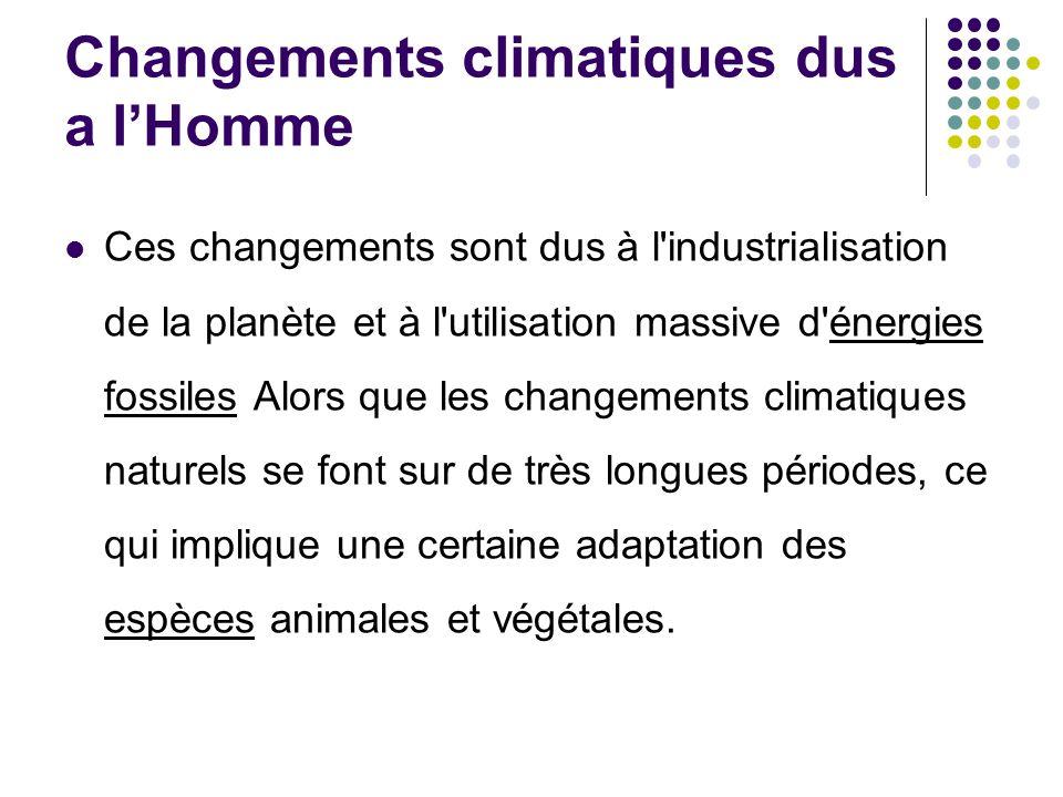 Changements climatiques dus a lHomme Ces changements sont dus à l industrialisation de la planète et à l utilisation massive d énergies fossiles Alors que les changements climatiques naturels se font sur de très longues périodes, ce qui implique une certaine adaptation des espèces animales et végétales.