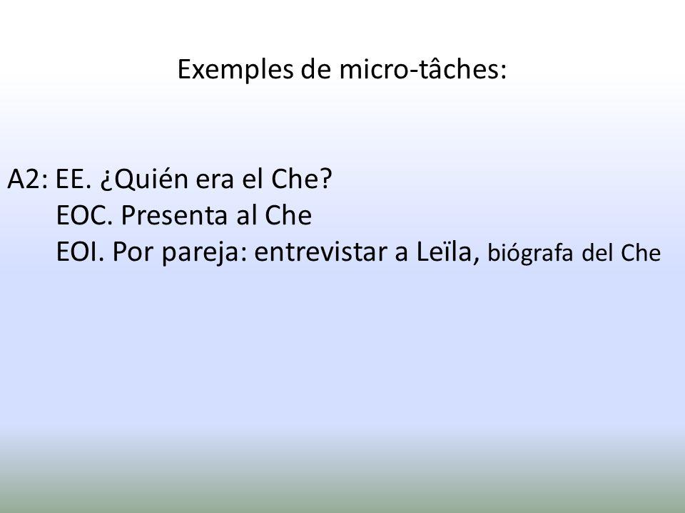 Exemples de micro-tâches: A2: EE. ¿Quién era el Che? EOC. Presenta al Che EOI. Por pareja: entrevistar a Leïla, biógrafa del Che