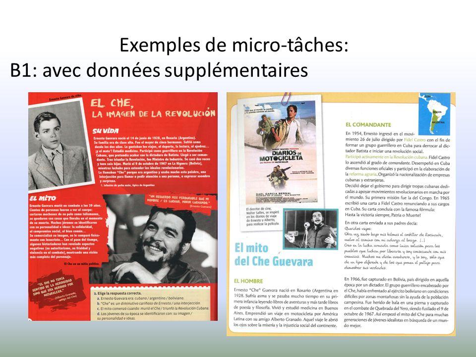 Exemples de micro-tâches: B1: avec données supplémentaires
