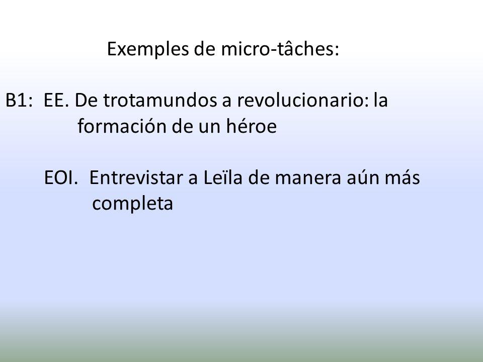 Exemples de micro-tâches: B1: EE. De trotamundos a revolucionario: la formación de un héroe EOI. Entrevistar a Leïla de manera aún más completa