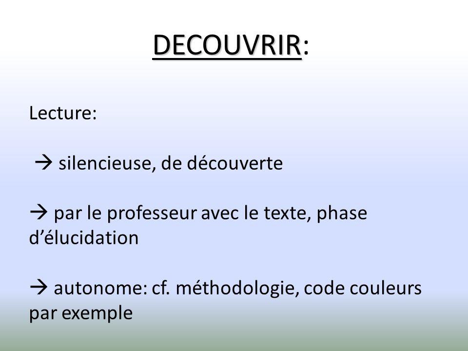 DECOUVRIR DECOUVRIR: Lecture: silencieuse, de découverte par le professeur avec le texte, phase délucidation autonome: cf. méthodologie, code couleurs