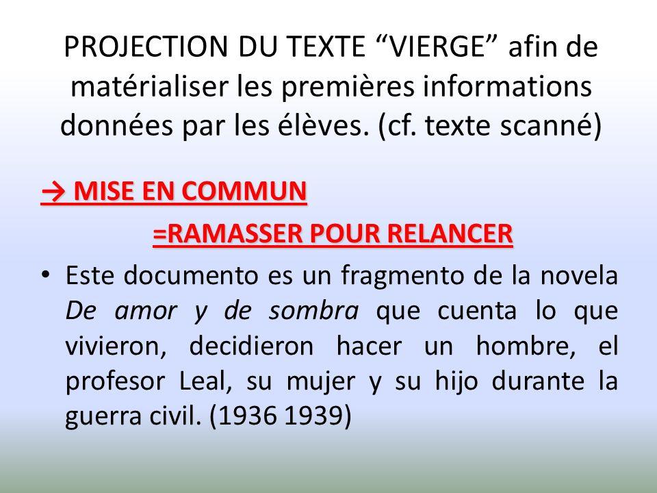 PROJECTION DU TEXTE VIERGE afin de matérialiser les premières informations données par les élèves.