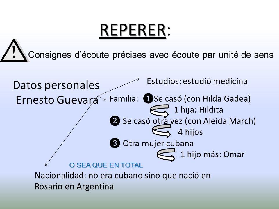 Datos personales Ernesto Guevara Estudios: estudió medicina Familia: Se casó (con Hilda Gadea) 1 hija: Hildita Se casó otra vez (con Aleida March) 4 h