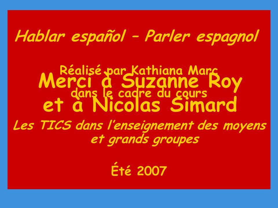 Hablar español – Parler espagnol Réalisé par Kathiana Marc dans le cadre du cours Les TICS dans lenseignement des moyens et grands groupes Été 2007 Merci à Suzanne Roy et à Nicolas Simard