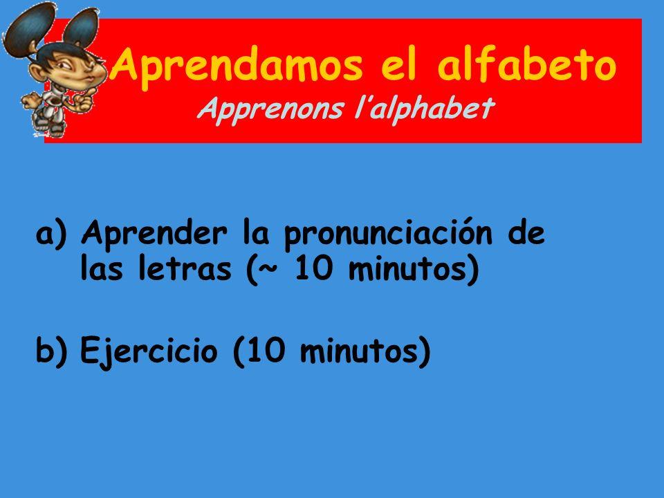 El alfabeto Lalphabet Aquí cómo se dice las letras en español con una pronunciación en francés A (a)B (bé)C (cé) Ch (ché)D (dé)E (é) F (éfé)G (gé)H (atché) I (i)J (jota)K (ka) L (élé)Ll (élié)M (émé) N (éné)Ñ (énié)O (o) P (pé)Q (cou)R (érré) S (ésé)T (té)U (ou) V (ouvé)W (uvé doblé)X (équis) Y (i griéga)Z (zeta) Source : http://www.primeraescuela.com/themesp/alfabeto.htm