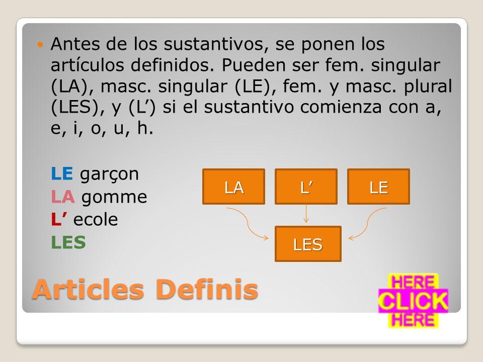 Articles Indefinis Antes de los sustantivos, se usan los artículos indefinidos.