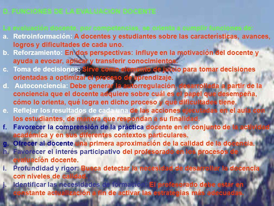 Ramón R. Abarca Fernández D. FUNCIONES DE LA EVALUACION DOCENTE La evaluación docente, por competencias, se orienta a cumplir funciones de: a.Retroinf
