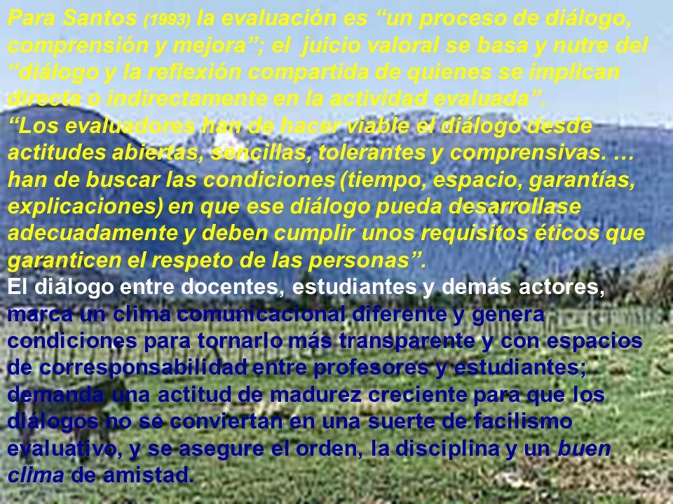 Ramón R. Abarca Fernández Para Santos (1993) la evaluación es un proceso de diálogo, comprensión y mejora; el juicio valoral se basa y nutre del diálo