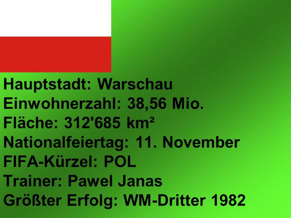 Hauptstadt: Warschau Einwohnerzahl: 38,56 Mio. Fläche: 312 685 km² Nationalfeiertag: 11.