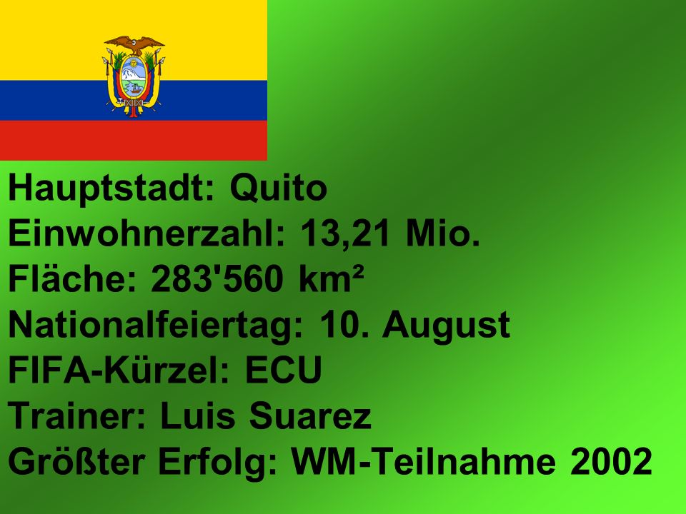 Hauptstadt: Quito Einwohnerzahl: 13,21 Mio. Fläche: 283 560 km² Nationalfeiertag: 10.