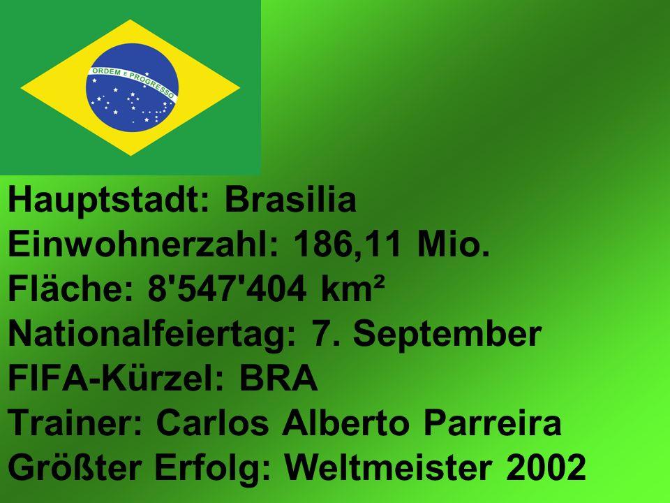 Hauptstadt: Brasilia Einwohnerzahl: 186,11 Mio. Fläche: 8 547 404 km² Nationalfeiertag: 7.