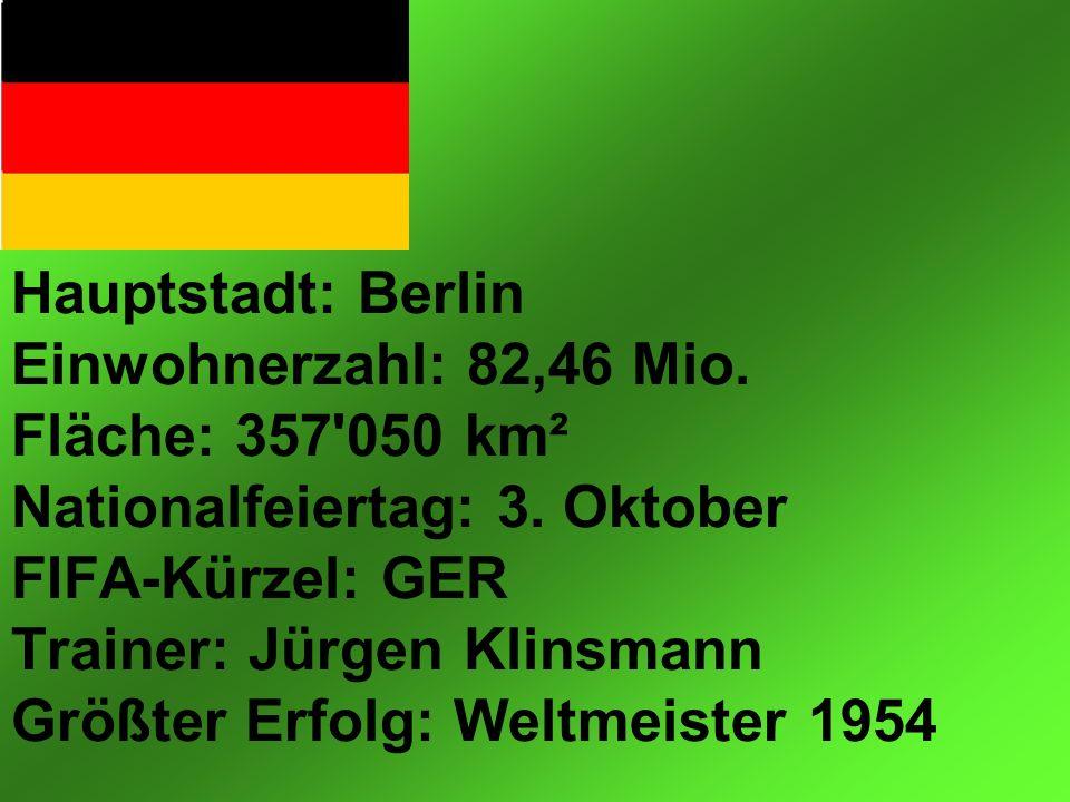 Hauptstadt: Berlin Einwohnerzahl: 82,46 Mio. Fläche: 357 050 km² Nationalfeiertag: 3.