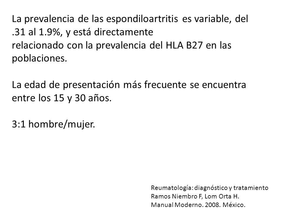 La prevalencia de las espondiloartritis es variable, del.31 al 1.9%, y está directamente relacionado con la prevalencia del HLA B27 en las poblaciones