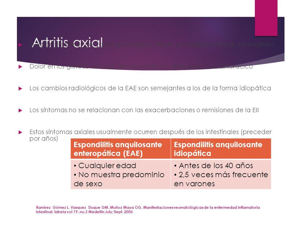 Artritis axial El dolor lumbar es de comienzo insidioso, difuso, con rigidez matinal, inflamatorio Dolor en los glúteos de carácter esporádico y alter